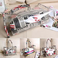 Women's Summer Jelly Candy Clear Transparent Handbag Tote Shoulder Beach Bag ^