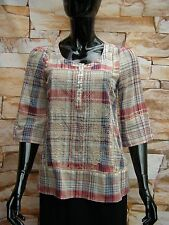 MONSOON COTTON CHECK EMBROIDERED MULTI COLOUR SCOOP NECK TUNIC TOP SIZE 8