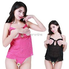 Sexy Women Lingerie Open Crotch Bra Set Babydoll Dress G-String Nightwear M-XL