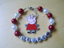 Stunning Personalised Peppa Pig Bracelet. Made to order. Mummy, Daddy Or George