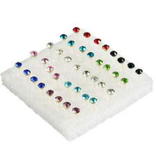 Fashion Pretty 1 Box of 20 Pairs Clear Crystal Ear Studs Earrings Allergy set CE