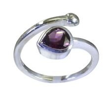 Garnet 925 Sterling Silver ravishing supplies Ring Red L-1in UK K,M,O,Q