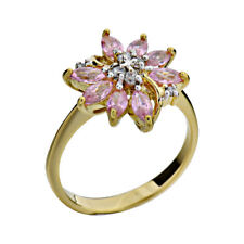 Pink CZ Gold Plated Sterling Silver Floral Jewelry Women Wedding Engagement Ring