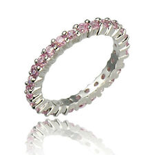 Pink CZ Sterling Silver Eternity Jewelry Women Wedding Engagement Ring Guard