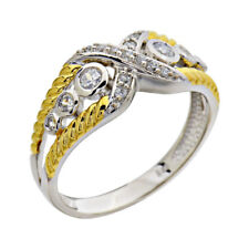 Sterling Silver CZ Bypass Two Tone Jewelry Women Wedding Engagement Ring