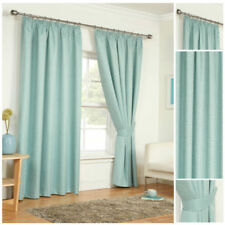 Ready Made Duck Egg Light Reducing Curtains Thermal Pencil Pleat Tie Backs Sizes
