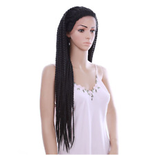 30inch Box Braided Wig Black Lace Front Straight Synthetic Box Braiding Wigs