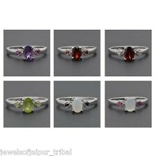 Natural Multi Gemstone 925 Sterling Silver Ring Fine Jewelry Free Shipping