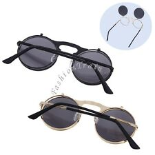 Sexy Men Women Steampunk Vintage Retro Cool Flip Up Lens Style Round Sunglasses