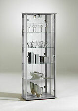 LOCKABLE RETAIL GLASS DISPLAY CABINET VARIOUS COLOURS WITH LOCK, LIGHT & MIRROR
