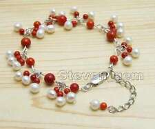 SALE 5-6mm White Round Natural Pearl with 3-6mm Red Coral 7-9'' bracelet-bra385