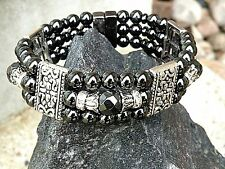 Magnetic 100% Round Hematite Tibetan Silver Bracelet 3 Anklet Row Therapeutic