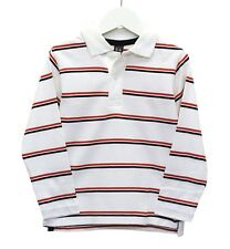 Boys Ex Zara Long Sleeve Polo T-Shirt Multi Stripes White Age 3 to 10 Years Kids