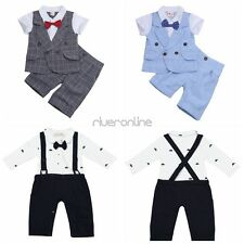Baby Boys Summer Plaid Outfits Bowtie T-shirt Tops Shorts Pants Set Clothes New