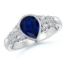 Pear Shaped Blue Sapphire Vintage-Style Ring with Diamond Accents 14K White Gold