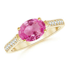 14K Yellow Gold Oval Pink Sapphire Solitaire Engagement Ring & Diamond Accents