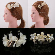 Wedding Party Prom Crystal Pearls Flower Fascinator Hair Pin Clip Dress Comb