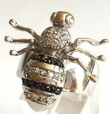 Silver Rhodium Plated Bumble Bee Cocktail Ring Crystal Size 6 7 8 9 USA Seller