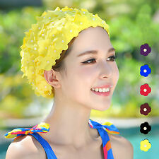 Women Ladies Swimming Hat Vintage Swim Floral Flowers Long hair Bathing Cap M/L