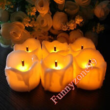12x Yellow Flicker Flameless Battery LED Candle Dripping Wax Tea Lights Decor AU