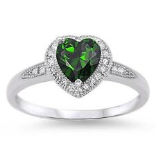 Stunning 925 Sterling Silver Emerald Green CZ Heart Ring Clear CZ Size 4-10
