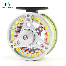 Fly Fishing Reel &Fly Line Combo 5/6/7/8 WT Fly Reel Silver Aluminum Large Arbor