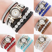 1Pcs Vintage Quartz Rhinestone Bracelet Wrist Watch Crystal Women Dial Analog