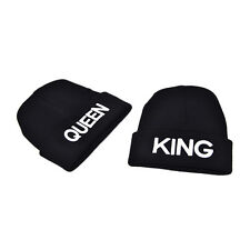 KING QUEEN Embroidery Beanie Bed Head Knit Unisex Fashion Hat Couple Gifts WHF