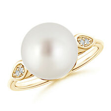 June birthstone Sea Cultured Pearl Cocktail Ring Diamond 14K Yellow Gold/Silver