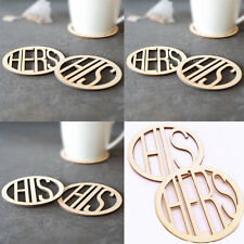 Pair Wedding Hers His Wooden Coaster Holder Coffee Tea Drinks Cup Mat Carved Pad