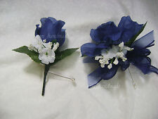 Navy Blue Open Rose Pin Corsage*Boutonniere*wedding*Prom*party*Ouinceanera