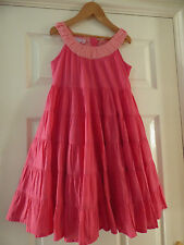 Monsoon Girls Pretty Pink Cotton Gypsy Style Strappy Summer Dress Age 7-8 years