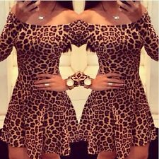 Sexy Women Leopard Bodycon Evening Party Cocktail Short Mini Dress Clubwear Hot