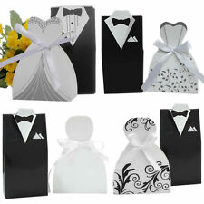 100pcs Party Wedding Favor DRESS & TUXEDO Bride Groom Candy Box With Ribbon