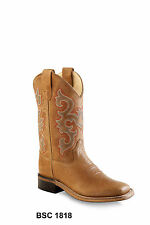 Old West Brown Children Boys Corona Calf Leather Cowboy Western Boots