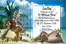 MADAGASCAR Personalised Kids Party Invitations Thank You Cards A6 Glossy + Env