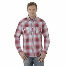 Wrangler Men's Long Sleeve Western Jean Snap Shirt Red Grey