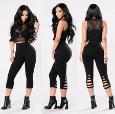 Womens Pants Casual Skinny Pants High Waist Casual Hollow out Sport Pants