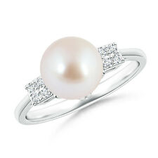 Vintage Style Solitaire Akoya Cultured Pearl Ring with Cluster Diamond 14k Gold