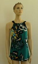 $158 Floral TAHARI KIMMY Blouse Teal Green Black Tie Top Blouse NWT Large