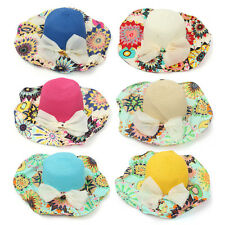 Women Girls Wide Brim Straw Floppy Bowknot Floral Hat Summer Beach Sun Foldable