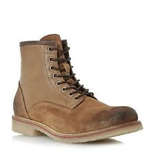 Dune Bertie Mens CASTERS Brushed Leather Lace Up Casual Boot in Tan