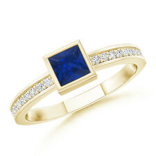 Princess Cut Natural Best Blue Sapphire Stackable Promise Ring 14K Yellow Gold