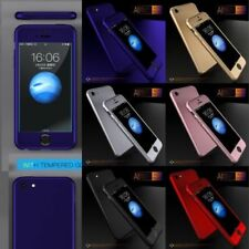 For iPhone Model 7+ 7 6s 5 360 Ultra Thin Shockproof Case Cover + Tempered Glass