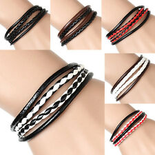 1Pcs Black  Pop Bangle  Leather  Mens  Interlaced  Cuff  Wristband  Bracelet