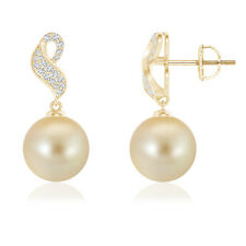 9MM Golden South Sea Cultured Pearl Dangle Earrings with Diamond 14K Yellow Gold