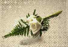 White Rose Diamanté Button Hole Corsage Wedding Flower Pin Bride Groom Suit