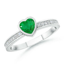Bezel Heart Emerald Promise Ring with Diamond Accents 14K White Gold/ Size 3-13
