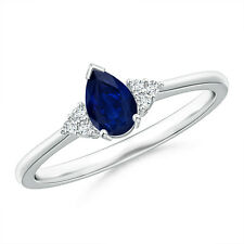 Pear Sapphire Solitaire Ring With Trio Diamond Accents 14K White Gold Size 3-13