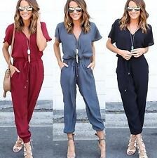 Sexy Women Short Sleeve Bandage Jumpsuits V-neck Casual Rompers Trousers
